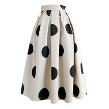 Fall Polka Dot Pleated Skirt Women Polka Dot Party Skirt Outfit,Khaki,Plus Size  image 7