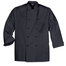 Dickies DCP109 BLK Cloth Knot Button Black Uniform Chef Coat Jacket Medi... - $39.57