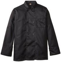 Dickies DCP118 BLK Plastic Button Black Uniform Chef Coat Jacket Large New - $39.17