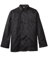 Dickies DCP118 BLK Plastic Button Black Uniform Chef Coat Jacket Large New - $39.17