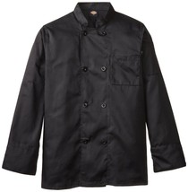 Dickies DCP118 BLK Plastic Button Black Uniform Chef Coat Jacket Medium New - $39.57
