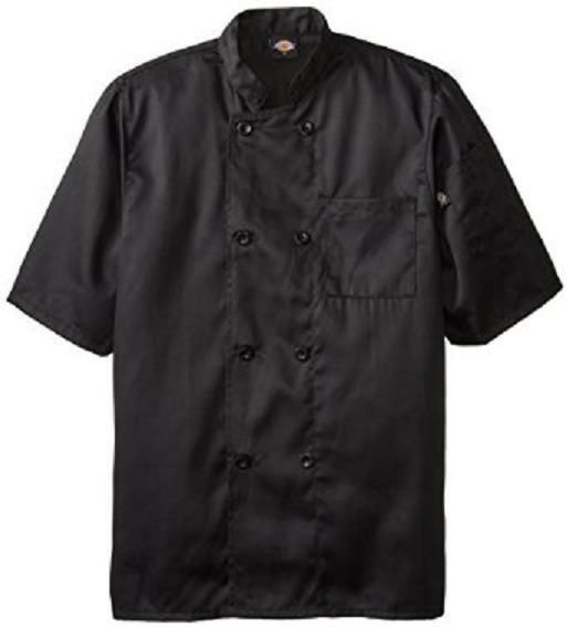 Dickies DCP124 BLK Plastic Button SS Black Uniform Chef Coat Jacket Large New