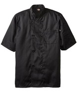 Dickies DCP124 BLK Plastic Button SS Black Uniform Chef Coat Jacket Larg... - $39.57
