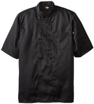 Dickies DCP124 BLK Plastic Button SS Black Uniform Chef Coat Jacket 2X New - $39.17