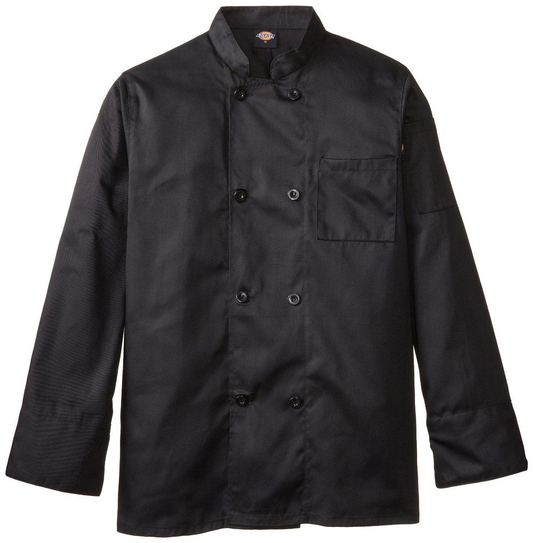 Dickies DCP118 BLK Plastic Button Black Uniform Chef Coat Jacket Medium New