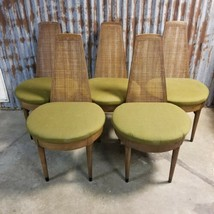 Set of 5 Vintage Mid Century American Furn Co. Wood Dining Armchair Chairs - $432.24