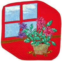 Window with Flowers: Quilted Art Wall Hanging - $375.00