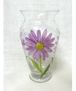 Teleflora Gift Purple Daises Decals Clear Glass Flower Vase Decorative China - $19.77