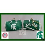 2 MICHIGAN STATE SPARTANS FOOTBALL BASKETBALL ORNAMENTS SPARTY'S BAG - $14.86