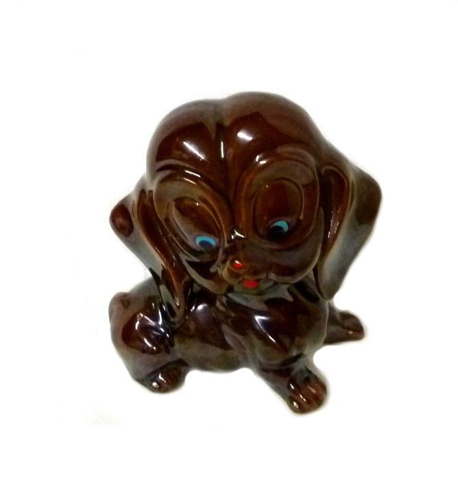 Vintage Red ware Clay Brown Puppy Dog Pottery Figurine Collectible Japan