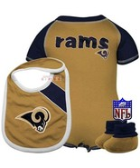 St. Louis Rams Newborn Gold-Navy Blue Creeper, Bib & Bootie Set 6-9M boy... - $19.69