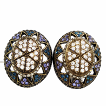 Joan Rivers Rhinestone Mosaic Earrings with Byzantine Style and Details - $38.00