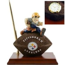 Pittsburgh Steelers Football Premium DeskSet Pen+ Penholder Deskclock Wood Base - $26.72