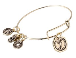 "Letter ""F"" Pendant Bangle Expandable Wire Bracelet, Antique Bronze Tone  - $19.95"