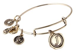 "Letter ""J"" Pendant Bangle Expandable Wire Bracelet, Antique Bronze Tone  - $19.95"