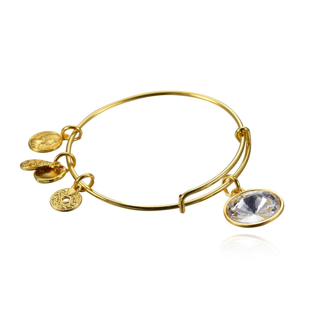 April Birthstone Pendant Bangle Expandable Wire Bracelet, Antique Gold Tone