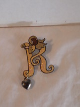 "Hand crafted  ""R"" pin with glitter and angel  #143 - $3.00"
