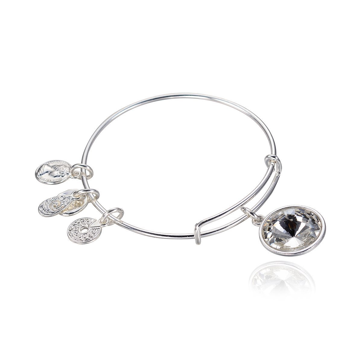 Primary image for September Birthstone Pendant Bangle Expandable Bracelet Antique Silver Tone
