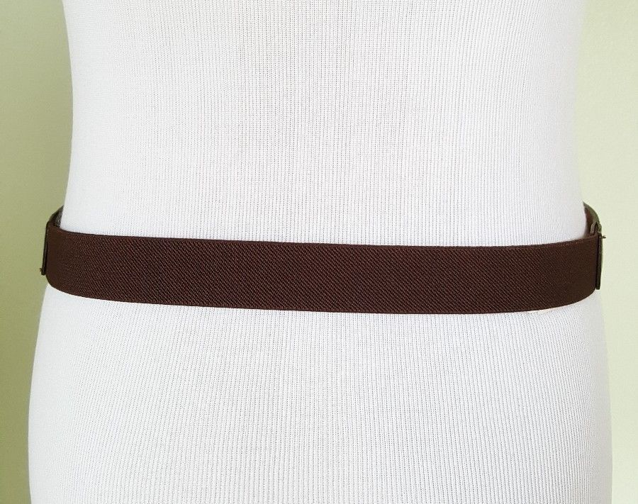 Lauren Ralph Lauren chocolate brown leather elastic waist belt  L