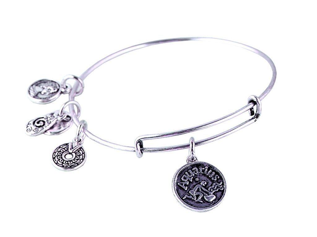 Aquarius Pendant Bangle Expandable Bracelet Antique Silver Tone