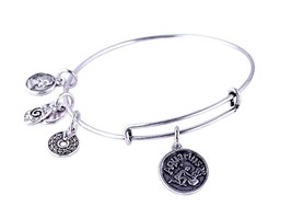 Aquarius Pendant Bangle Expandable Bracelet Antique Silver Tone  - $19.95