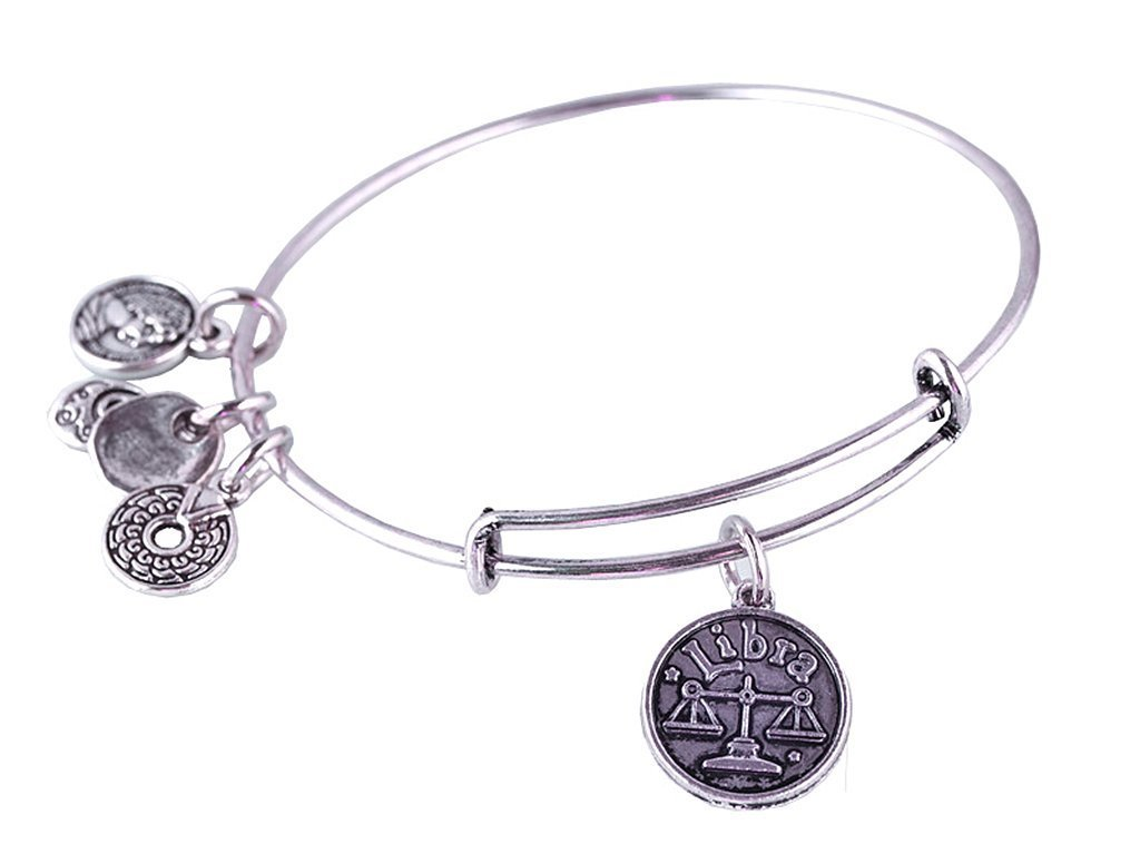 Libra Pendant Bangle Expandable Bracelet Antique Silver Tone