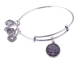 Libra Pendant Bangle Expandable Bracelet Antique Silver Tone  - $19.95