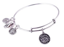 Pisces Pendant Bangle Expandable Bracelet Antique Silver Tone  - $19.95
