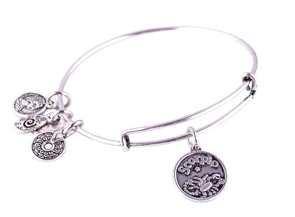 Scorpio Pendant Bangle Expandable Bracelet Antique Silver Tone