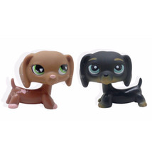 2pcs RARE #556 #325 Littlest Pet Shop Brown black Dachshund Dog Puppy LP... - $19.94