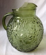Vintage Anchor Hocking Lido Milano Glass Ball Pitcher w Ice Lip Avocado ... - $16.77