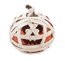 Ganz Light Up Mummy Jack O Lantern Pumpkin Resin Figurine Halloween Deco... - $30.99