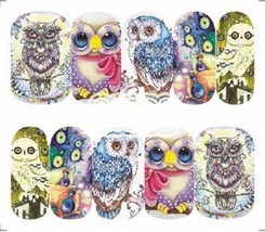 Nail Art Sticker Water Decals Transfer Stickers Decorative Owls (A-1284) - $4.80