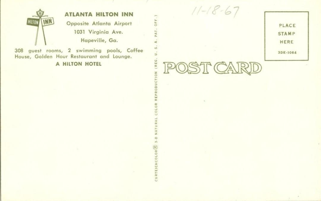 Atlanta Hilton Inn, Hapeville, GA, unused Postcard