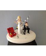 Cake Topper Bridal Weddding Funny Ball & Chain Going Gone Fishing Theme - $60.99