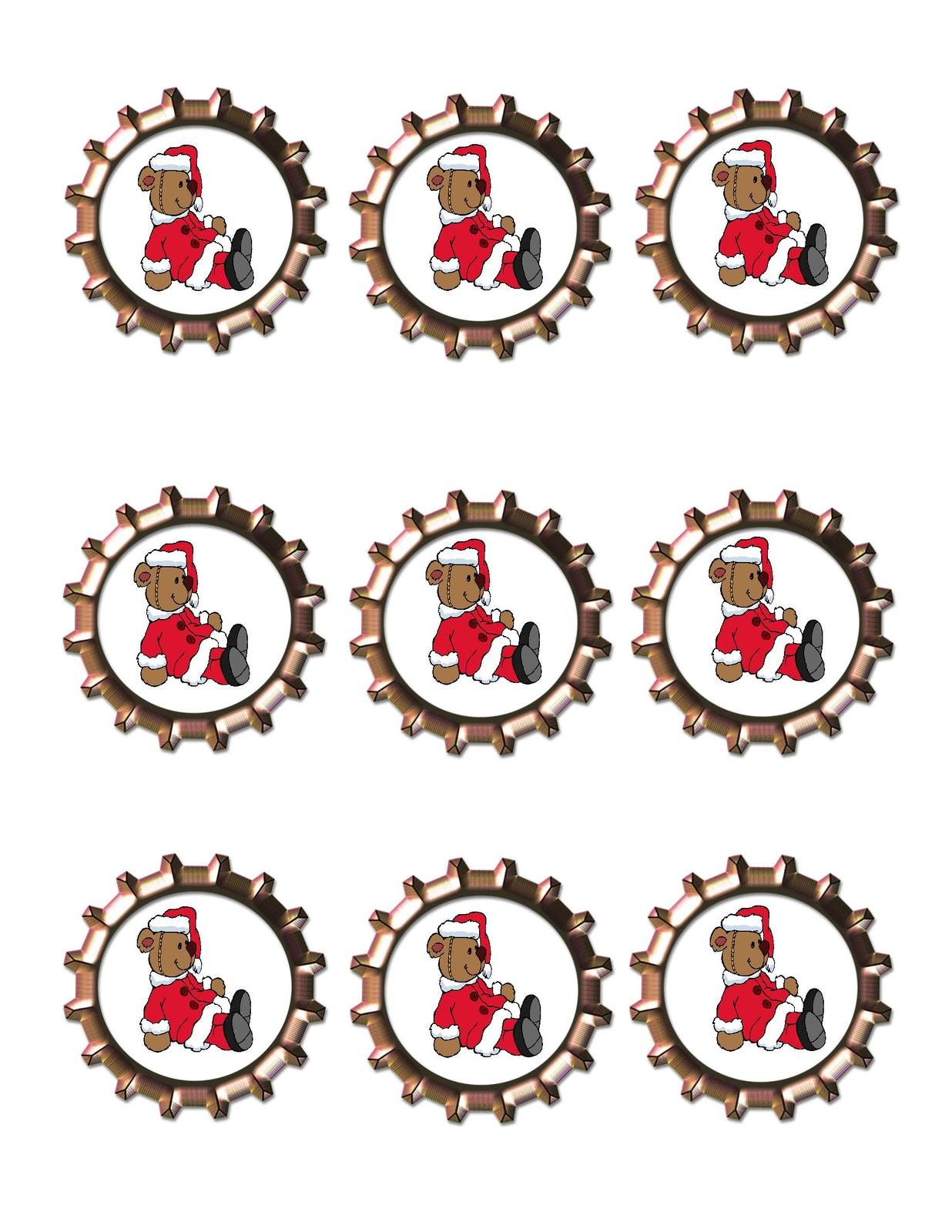 Santa Bear Bottlecap-Download-ClipArt-ArtClip-Bottle Cap-Digital