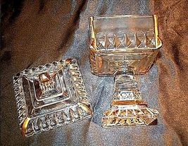 Heavy Cut Glass 2 Piece Chalice with Gold Accents AA18-11906Vintage image 4