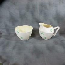 Pair Belleek Sugar and Creamer, 3rd Black Mark, Shamrock w/ Iridescent I... - $39.27