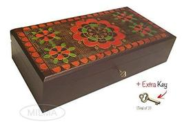 Extra Large Handmade Wooden Jewelry Box Polish Linden Wood Floral Design... - €70,06 EUR