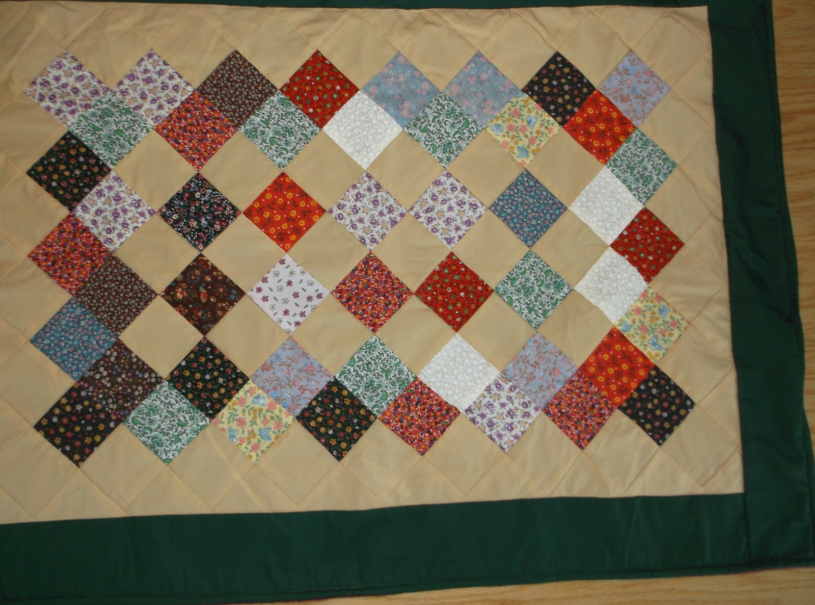 FLORAL QUILT small 26 x 33 infant lap wheelchair patchwork handcrafted