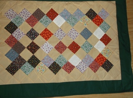 FLORAL QUILT small 26 x 33 infant lap wheelchair patchwork handcrafted - $35.00