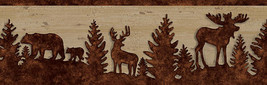 Forest / Lodge Brown Silhouettes on Faux Wood Wallpaper Border 3118-35711B - $15.98
