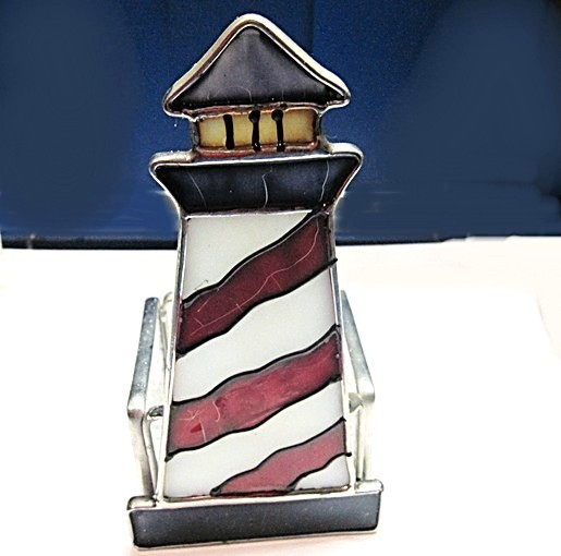 Candle holder stain glass lg lighthouse votive