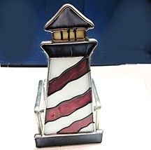 Candle Holder Stain Glass Lg Lighthouse Votive - $12.04