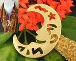 Crescent man in the moon brooch pin smiling face gold tone large thumb155 crop