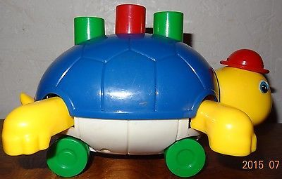 Vintage Turtle Baby Push toy Yellow Blue Rolling