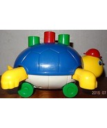 Vintage Turtle Baby Push toy Yellow Blue Rolling - $14.52