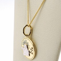 White Yellow Gold Necklace 18k, Chain Mini grumette, Medal Angel, Stars image 2