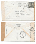 WWII Belgian Congo 1945 Censored Cover to US Double Censor Tapes Dual Po... - $24.95