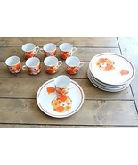 Vintage Mid Century Flower Hippie Plates and Cups Set 16 Pieces - $198.00